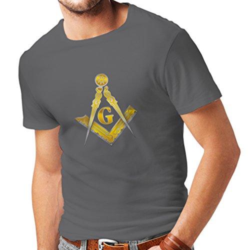 Männer T-Shirt Freimaurer - masonic - Symbole Winkel und Zirkel mit G (XX-Large Graphit Mehrfarben) (Bibel Figur Kostüme Für Kinder)
