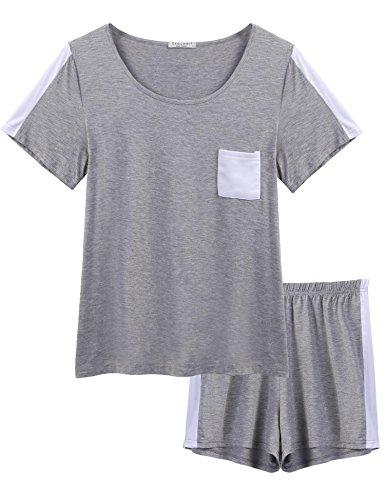WDDGPZSY Nachthemd/Nachtwäsche/Schlafhemd/Homewear/Pyjamas/Kurze Beiläufige Feste Patchwork Tasche Frauen Sleeve Pyjama Set Nachtwäsche Nachtwäsche, Grau, XL -