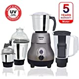Inalsa Amaze 750-Watt Mixer Grinder with 3 Stainless Steel Jars & 1 Blender Jar with Fruit Filter, (Grey)