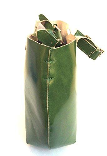 SUPERFLYBAGS Damen Tasche Shopper echtem Leder glatt und hochglänzend 2 in 1 Model Barbara Made in Italy grun