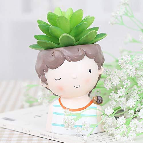 ToDIDAF Netter Blumentopf Cartoon Junge Vase Behälter für Succulent Planter Blumen Bonsai Pflanzen Zuhause Garten Büro Desktop Dekoration (D) -