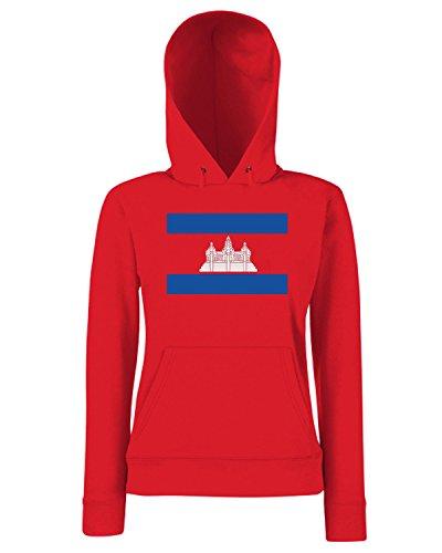 T-Shirtshock - Sweats a capuche Femme TM0173 Cambodia flag Rouge