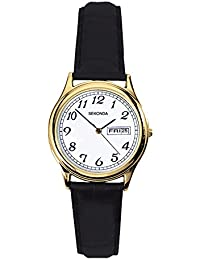 Sekonda Women's Quartz Watch with White Dial Analogue Display and Black Leather Strap 4925.27