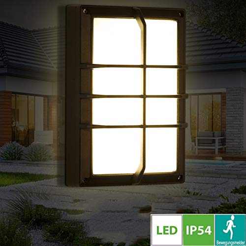 18W LED Außen-wandleuchte, Square Schwarz Aussenleuchte, Außen-Deckenleuchte mit Bewegunsmelder, Wandmontierte Bulkhead Leuchte mit schwarzem Trim, für Garten, Veranda, Garage, Patio,Kaltweiße -