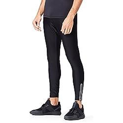 Activewear Leggings Deportivos Hombre, Negro (Black), Large