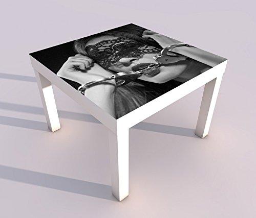 Design - Tisch mit UV Druck 55x55cm schwarz weiss Erotik Sexy Frau Handschälen Bett Hand Schlafzimmer Spieltisch Lack Tische Bild Bilder Kinderzimmer Möbel 18A2785, Tisch 1:55x55cm