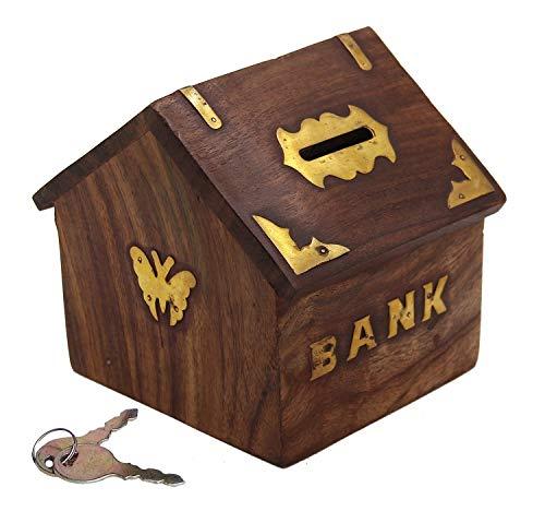 G&D Banco de Dinero de Madera Hut en Forma de Banco de Moneda   Hucha para niños y Adultos con Cerradura   Caja de Ahorro de Dinero Regalos Decorativos para Toda ocasión