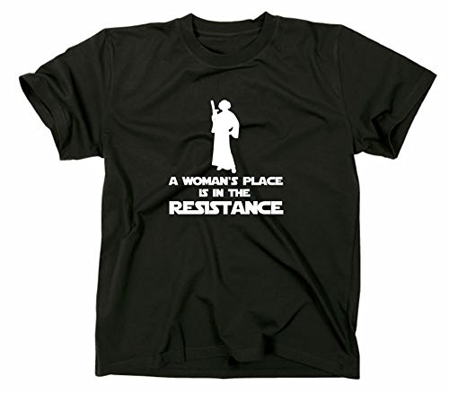 Kostüm Prinzessin Leia Girl - A Woman's Place Is In The Resistance T Shirt Prinzessin Leia Princess, L, schwarz