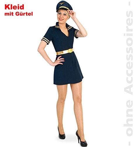 FRIES Damen Kostüm Pilotin Stewardess Kleid Karneval Fasching Gr.42