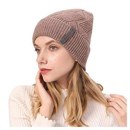 Poamen Sombrero de Punto Grueso de Terciopelo para Mujer, Rayas, Monocromo, a la Moda, para Deportes...