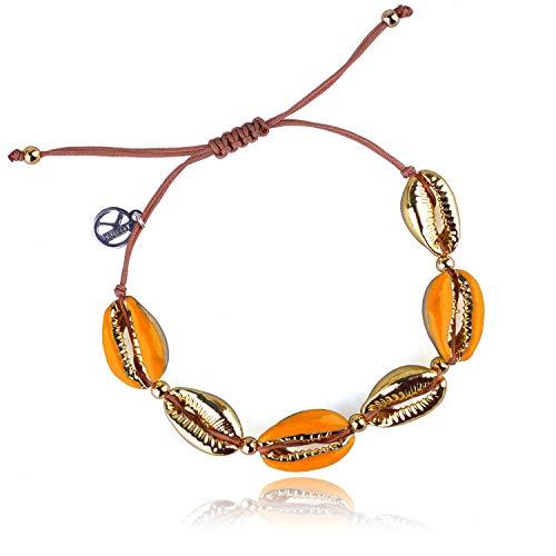 KELITCH Damen Armbänder Frauen Männer Bunte Metall Conch Bead Einstellbare Handmade String Bangle Freundschaft Charme Armband für Mädchen Herren - Orange
