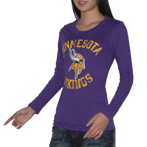 Pink Victoria's Secret femmes NFL Minnesota Vikings Slim Fit Crew-Neck Long Sleeve T Shirt / Tee - Violet Violet