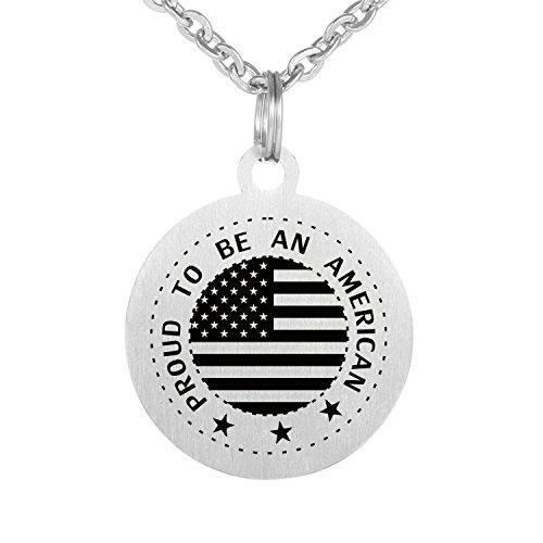 Preisvergleich Produktbild Pround zu werden ein Amercian USA Flagge Halskette Edelstahl Wasserdicht Ketten