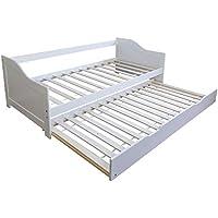 Preisvergleich für Homestyle4u 1420 Holzbett Kiefer massiv , Einzelbett aus Bettgestell mit Lattenrost Bettkasten ausziehbar , 90x200 cm , Weiß