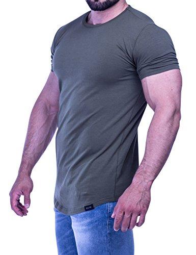 D.K Fit Premium Herren Oversize T-Shirt - Muscle Fit - Perfekt für deinen trainierten Körper (Small, Olive) (Muskel-fit Shirt)