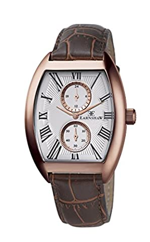 Thomas Earnshaw Men's Holborn Multi Function Quartz Watch with White Dial Analogue Display and Brown Leather Strap