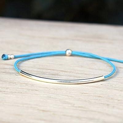 Bracelet cordon au choix jonc coulissant et perles argent massif 925