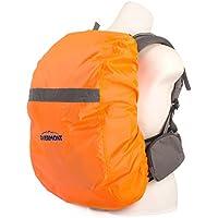 Overmont Wasserdicht Rucksack Regencover Regenabdeckung Regenschutz Regenschutzhülle mit Reflektierendem Streifen für Reisen Camping Radfahren (S/M/L) (Schwarz/Orangerot)