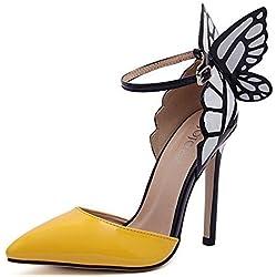 Padgene Schmetterling Fee Bunt Damen Pumps High Heels Stiletto Spitze Knöchelriemen Damenschuhe (35, Gelb)
