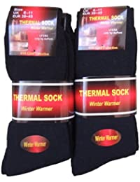 NEW 6 Pairs Mens plain black thick thermal socks UK 6-11 EUR 39-45
