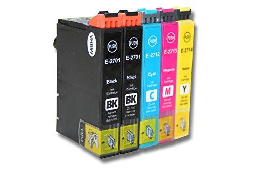 vhbw 5x Druckerpatronen Tintenpatronen Set für Epson Workforce WF-3620, WF-3620DWF, WF-3640, WF-3640TDWF, WF-7100 wie T2701, T2712, T2713, T2714.
