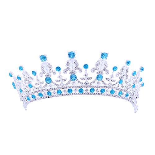 e Tiara Barock Vintage Kristall Strass Prinzessinkrone Hochzeitskrone (Blau) ()