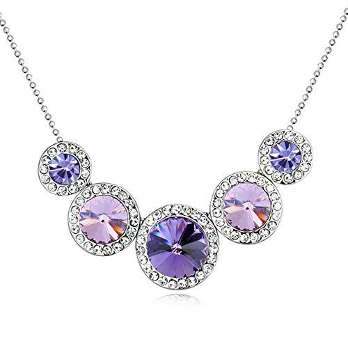 NSXLSCL Damenhalskette Mode Runden Kristall Lila Schlüsselbeinanteil Kette Halskette Für Frauen Damen Schmuck Und Veranstaltungsräume Täglich Zubehör
