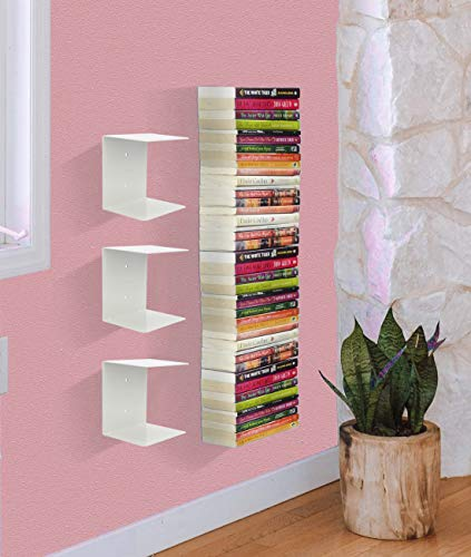 APPUCOCO Book Shelf Wall Mounted Heavy Duty Metal Invisible Book Shelves 3 Piece Per Pack (Made in India) with Screws & Plastic Anchors Included - White