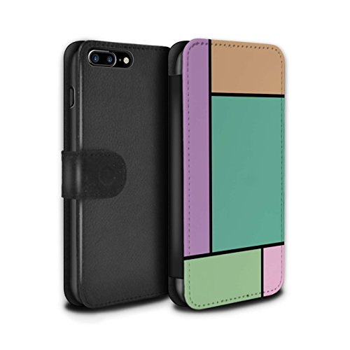 Stuff4 Coque/Etui/Housse Cuir PU Case/Cover pour Apple iPhone 8 Plus / 5 Carreaux/Vert Design / Carreaux Pastel Collection 5 Carreaux/Turquoise
