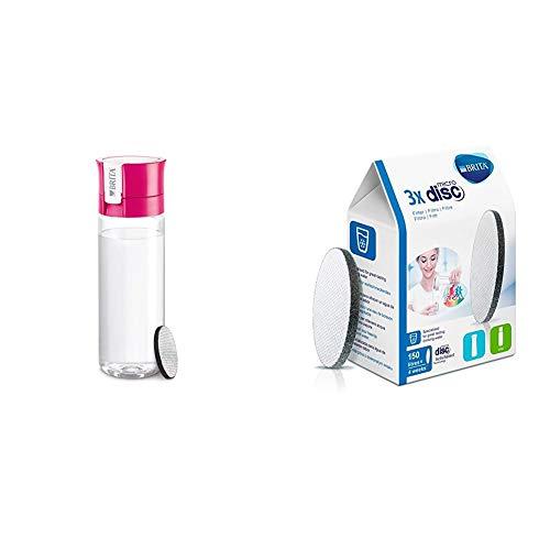 BRITA Fill&Go - Botella de agua de 0,6 l con filtro MICRODISC, color azul + BRITA MicroDisc - Cartuchos de filtro para botella de agua 150 l