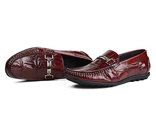 Scarpe Uomo in Pelle Scarpe da uomo in pelle Scarpe da piselli Scarpe casual Stile inglese Lettino traspirante ( Colore : Vino rosso , dimensioni : EU44/UK8.5 ) Vino Rosso