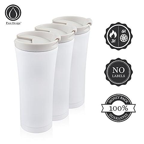 Isolierbecher to go Auslaufsicher 450 ml Matt-weiß. Premium Design Kaffee Thermobecher Edelstahl Schwarz/Weiß. 100%