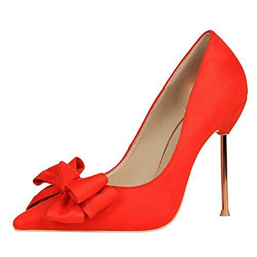 AalarDom Femme Stylet Pointu Tire Couleur Unie Chaussures Légeres Orange