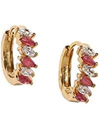 Rubans Gold Toned CZ And Ruby Studded Hoop Earrings