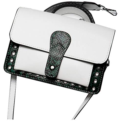 Kleine Crossbody Taschen Zipper Schultertasche Satchel für Frauen Einkaufstasche,White