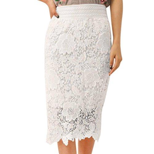 Frühjahr Bedskirt (Kanpola Frauen Rock Art und Weiseelastische Spitze Knie Länge hohe Taillen Partei (2XL))