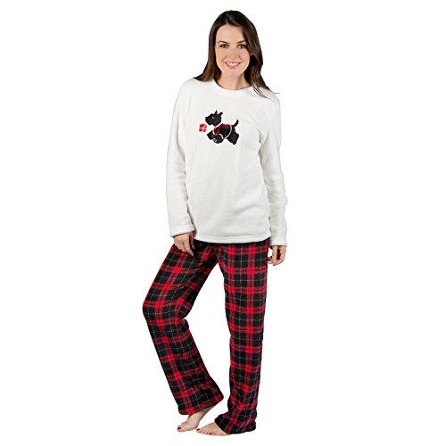 Autumn Faith Ladies Scotty Dog Fleece Pyjama Set PJS White Top & Checked Bottoms Nightwear