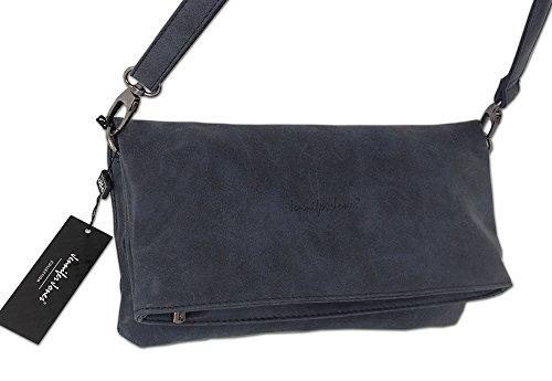Jennifer Jones Taschen Damen Damentasche Handtasche Umhängetasche Schultertasche Clutch Tasche groß - 2 Tragevarianten Crossbody Bag oder Clutch in navy / cognac / grau oder braun (3819) Navy