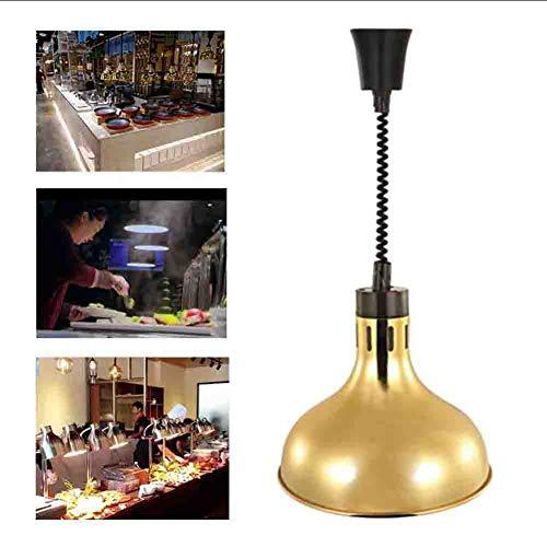Schwarz-gold-buffet-lampe (Lebensmittel Heizung Lampe hängen Teleskop Kronleuchter Buffet Lebensmittel Isolierung Lampe einzigen Kopf Lebensmittel Heizung Lampe 220V,Gold)