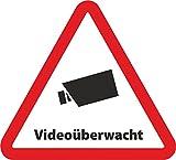 INDIGOS UG 10-Set Aufkleber Videoüberwacht als Dreieck - 10 x 9 cm - Sicherheit für Ihr Fenster am Haus oder Büro