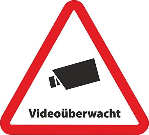10-Set Aufkleber Videoüberwacht als Dreieck - 5cmx4,5 cm - Sicherheit für Ihr Fenster am Haus oder Büro
