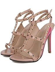 NobS Moda SeñOras Mujeres Tacones Altos En Forma De T Cuadrados Remaches Sandalias Hueco Sandalias Tacones Altos Sandalias Zapatos Zapatos Casual , pink , 35