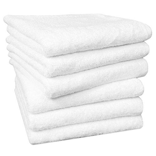 Zollner 6er-Set Handtücher in flauschiger Frotteequalität weiß 50x100 cm aus 100% Baumwolle, Gewicht ca. 520 g/qm, in weiteren Farben erhältlich, in Premium-Qualität, Serie Star-Elba (Handtuch Hotel)