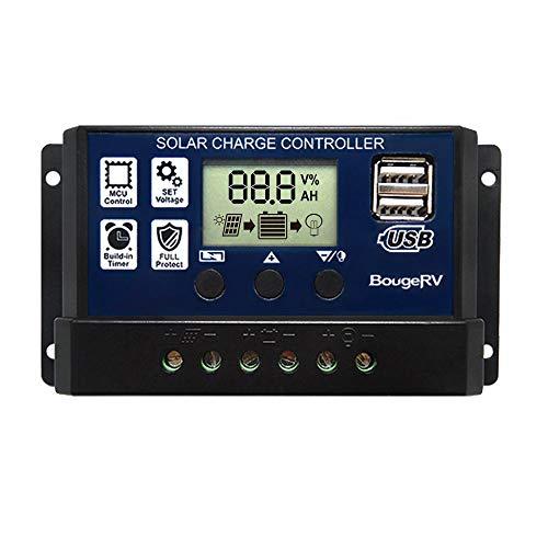 BougeRV 30A Solar Laderegler 12V/24V PWM Solarladeregler Dual USB Solar Panel Regler Solarpanel Controller mit LCD-Display für Auto, Camping, Haus, Industrie, Gewerbe, Boot