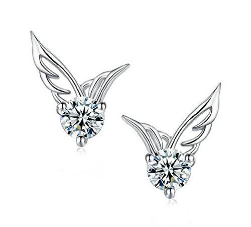 Hosaire Cute Lady Womens Girls Sterling Silver Jewelry Angel Wings Crystal Ear Stud Earrings