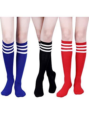 3 Paare Klassische Triple Stripe Socken Frauen Knie Oberschenkel Hohe Socken Weiche Baumwolle Rohr Socken für Kostüm, 3 Farben (Farbe Set 2)