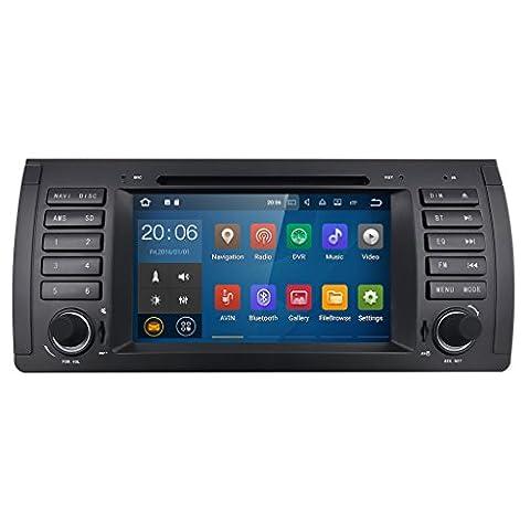 HIZPO 7 inch 1024*600 HD Monitor Quad Core Android 7.1 Car Radio 1 Din Stereo for BMW E39 E53 M5 X5 5 Series Support GPS Navigation SWC Car Radio Audio Video iPod WIFI 4G USB SD CAM-IN OBD2 (Bmw Ipod Video)