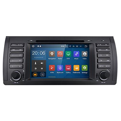 HIZPO 7 inch 1024*600 HD Monitor Quad Core Android 7.1 Car Radio 1 Din Stereo for BMW E39 E53 M5 X5 5 Series Support GPS Navigation SWC Car Radio Audio Video iPod WIFI 4G USB SD CAM-IN OBD2 DAB (H264 Video-ipod)