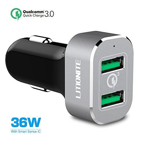 Preisvergleich Produktbild Litionite® Toretto 36W Mini Auto Zigarettenanzünder Ladegerät Aluminium Tragbar Dual USB mit QUICK CHARGE 3.0 Technologie - Schnellladung für alle Modelle der Smartphone und Tablet
