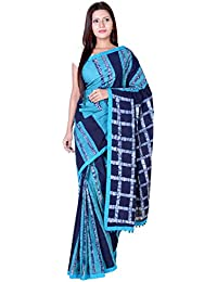 Panvi Cotton Saree (P-87_Hand Block Batik Print Indigo Blue&turquoise Pure Cotton With Blouse Peice_Free Size)